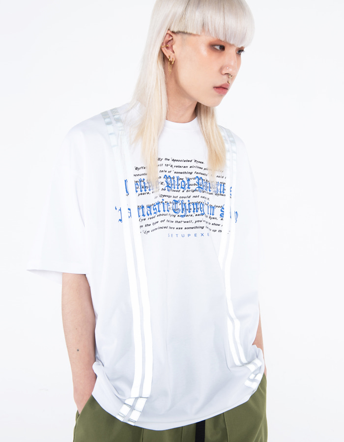 Reflective tape T-shirt - white