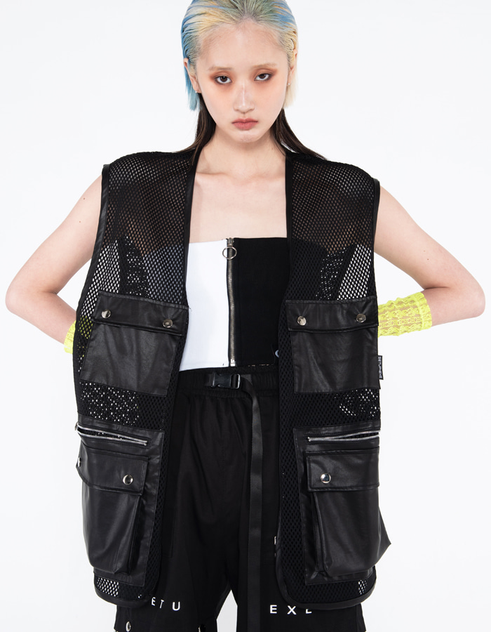 Mesh leather pocket Vest
