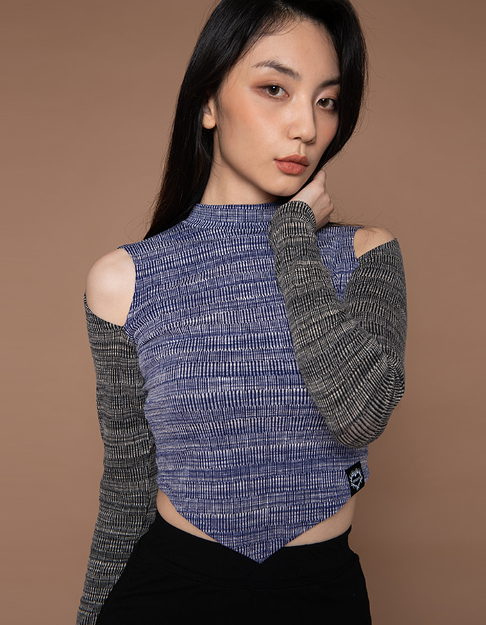 Shoulder slit T - blue