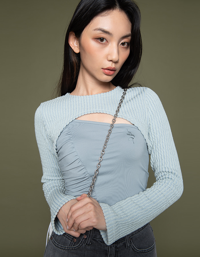 Knit bolero T set - mint