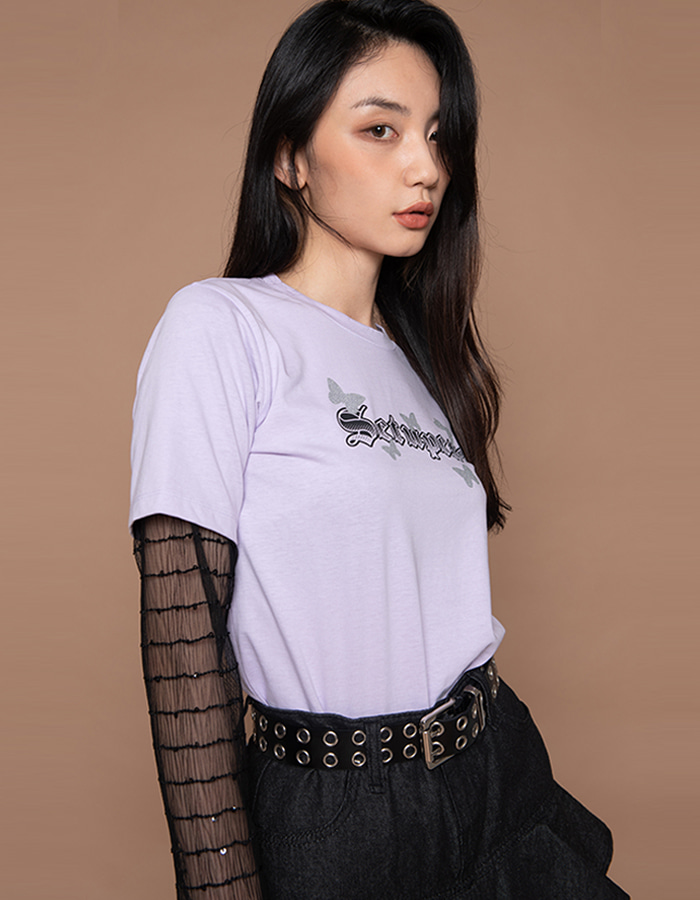 See-through layered T - lavender
