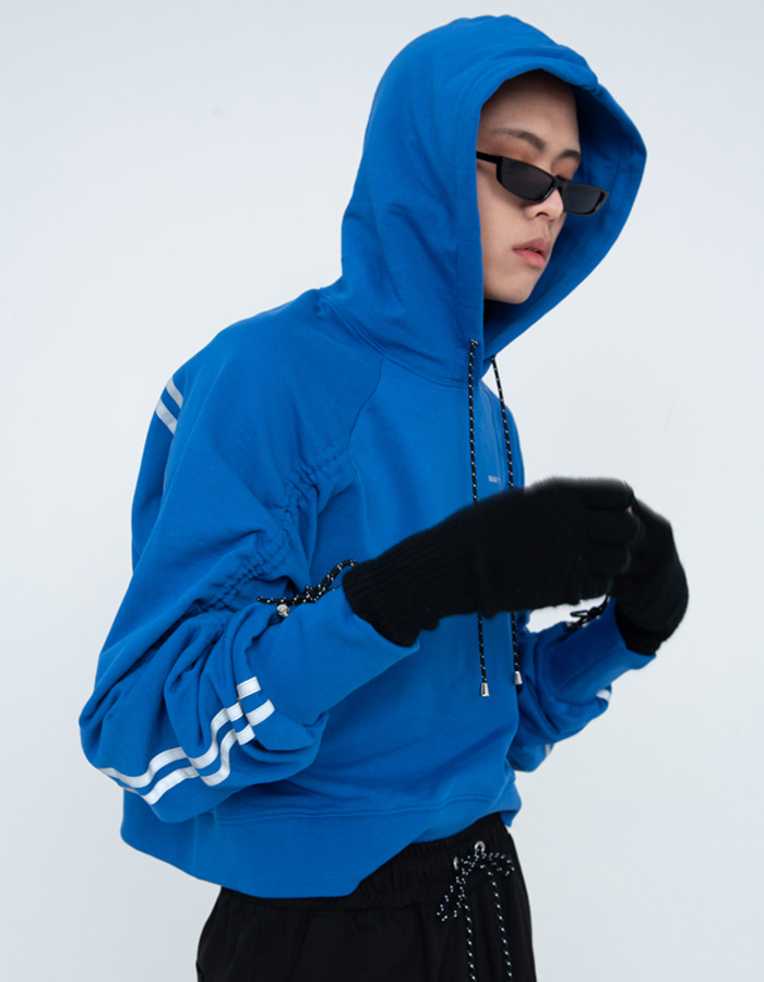 Reflective shirring Hood - Blue