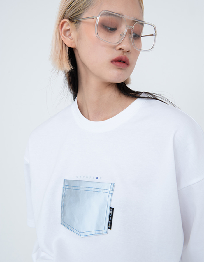 Reflective pocket T-shirt - White