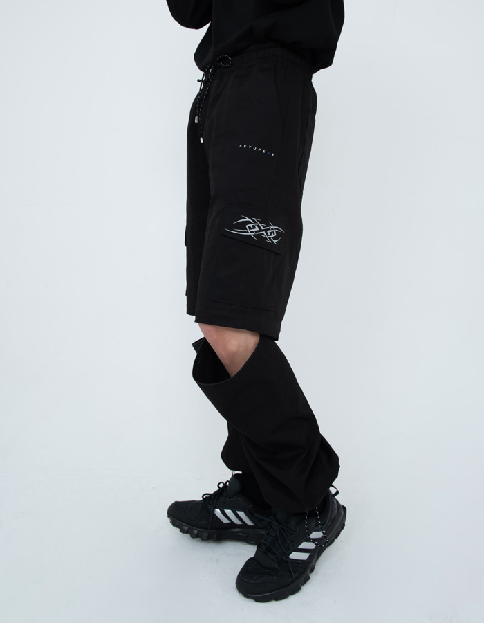Zip cut-off Pants - Black