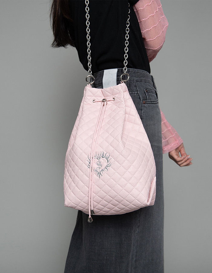3-way quilting bucket Bag - baby pink