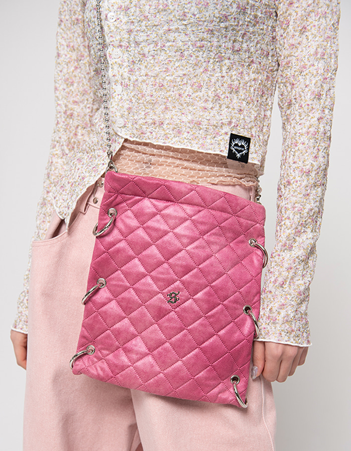 O-ring point cross Bag - pink